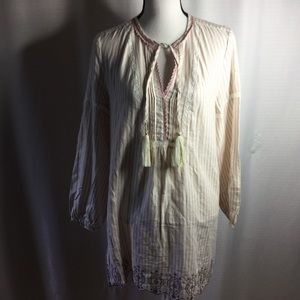 ANTHROPOLOGIE Floreat Night Shirt Ivory Pink Sz XS